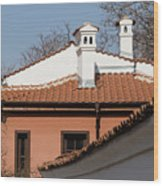 Charming Chimneys - White Stucco And Terracotta Juxtaposition Wood Print