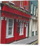 Charming Narrow Street In Kinsale Wood Print