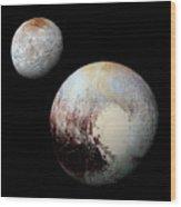 Charon And Pluto Enhanced Wood Print