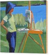 Charyl Painting At Pope John Paul II Park Wood Print