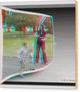 Chasing Bubbles - Use Red-cyan 3d Glasses Wood Print