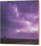 Chasing Nebraska Lightning 012 Wood Print