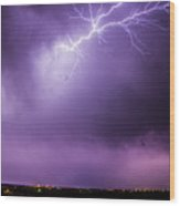 Chasing Nebraska Lightning 043 Wood Print