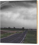 Chasing The Storm - Bw And Color Wood Print