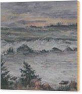 Chasing The Storm Wood Print by Alicia Drakiotes