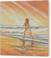 Chasing The Surf Wood Print