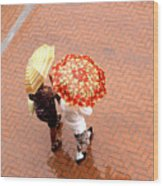 Chatting In The Rain - Umbrellas Series 1 Wood Print