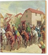 Chaucer's Pilgrims Wood Print by van der Syde