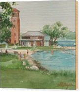 Chautauqua Bell Tower And Beach Wood Print