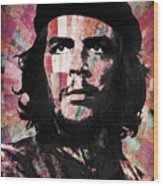 Che Guevara Revolution Red Wood Print
