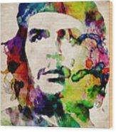 Che Guevara Urban Watercolor Wood Print