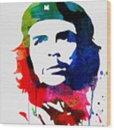 Che Guevara Watercolor 2 Wood Print