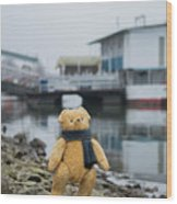 Cheerful Teddy Bear In Knitted Scarf Stand By The Riverside Beside The Port Wood Print