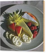 Cheese Wedges With Crackers And Fruit Wood Print