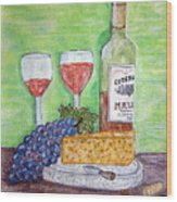 Cheese Wine And Grapes Wood Print