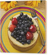 Cheesecake With Fruit Wood Print