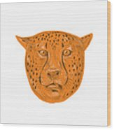 Cheetah Head Drawing Wood Print