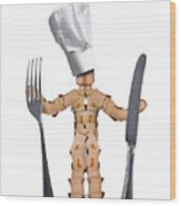 Chef Box Man Character With Cutlery Wood Print