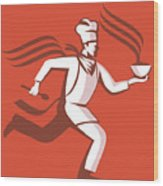 Chef Cook Baker Running With Soup Bowl Wood Print