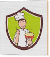 Chef Cook Bowl Pointing Crest Cartoon Wood Print