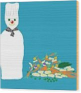 Chef Snowman Wood Print