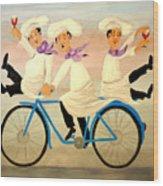 Chefs On A Bike Wood Print