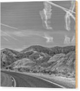 Chem Trails Over Valley Of Fire Black White  Wood Print