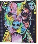 Cherish The Pitbull Wood Print by Dean Russo