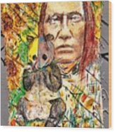 Cherokee Chief With Friend Mr.p Wood Print