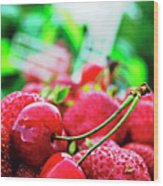 Cherries And Berries Wood Print