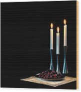 Cherries And Candles In Steel Wood Print