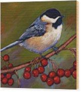 Cherries And Chickadee Wood Print
