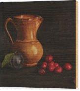 Cherries And Plum Wood Print