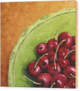 Cherries Green Plate Wood Print