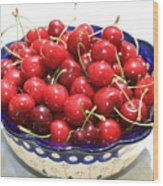 Cherries In Blue Bowl Wood Print