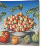 Cherries In Delft Bowl With Red And Yellow Apple Wood Print