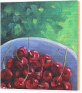 Cherries On A Blue Plate Wood Print