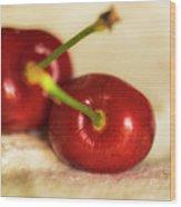 Cherries On White Wood Print
