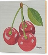 Cherry Times Three Wood Print
