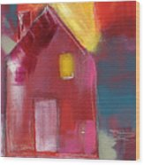 Cherry Blossom House- Art By Linda Woods Wood Print