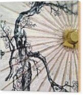 Cherry Blossom Parasol  Wood Print