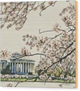 Cherry Blossom Tidalbasin View Wood Print
