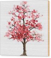 Cherry Blossom Tree Minimalist Watercolor Painting Wood Print