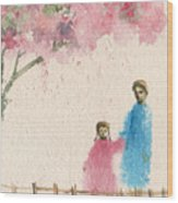 Cherry Blossom Tree Over The Bridge Wood Print