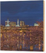 Cherry Blossom Trees At Portland Waterfront During Blue Hour Wood Print