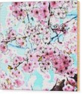 Cherry Blossom Watercolor Wood Print