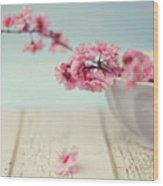 Cherry Blossoms In Bowl Wood Print