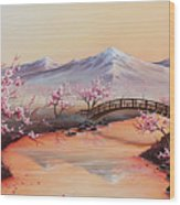 Cherry Blossoms In The Mist - Revisited Wood Print