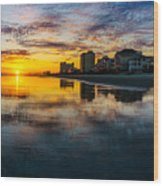 Cherry Grove Beach Front Sunset Wood Print