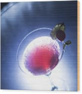 Cherry Martini Cocktail Drink At Night Wood Print